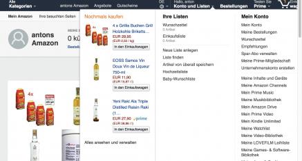 Nach dem Abmelden (s. unten rechts) können Sie zumindest anonym bei Amazon stöbern.