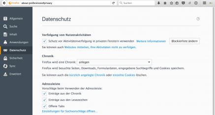 Firefox informiert den Anwender ausführlich über die Verfolgung von Nutzeraktivitäten im Internet.