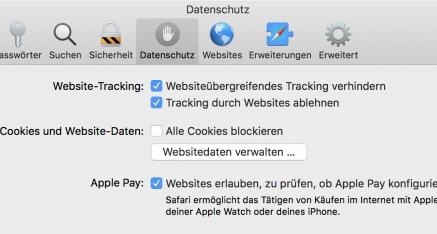 Der Safari-Browser von Apple bietet im Bereich Datenschutz das Unterdrücken des Trackings an.